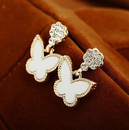 Elegant Rhinestones Butterfly Earrings