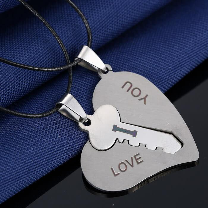 """I Love You"" Matching Key Heart Pendant Necklaces (includes 2 necklaces)"