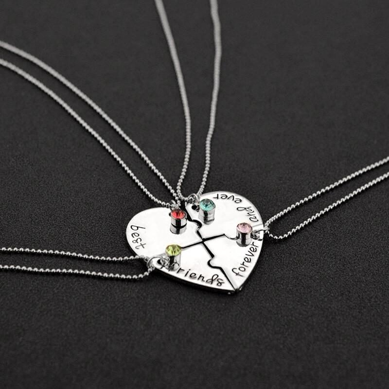 4 Pieces Heart Shape Puzzle Friendship Necklaces (includes 4 necklaces)