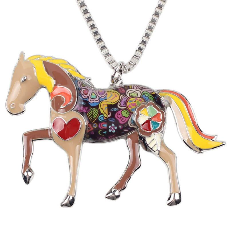 Trendy Colorful Horse Pendant Necklace