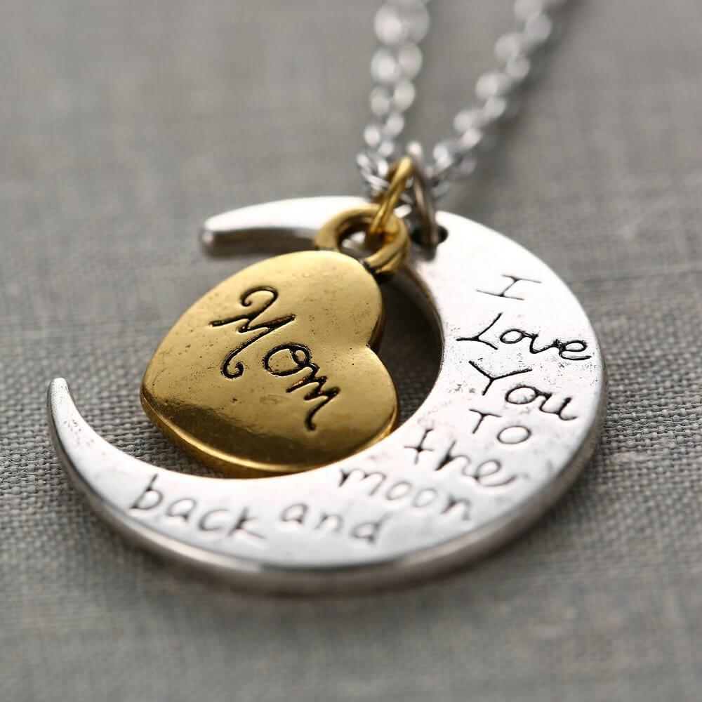 """I Love You To The Moon And Back"" Family Pendant Necklaces"