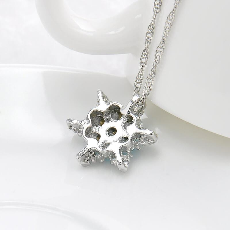 Crystal Snowflake Pendant Necklace
