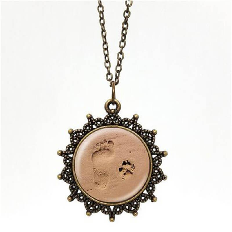 Paw and Footprint Pendant Necklace