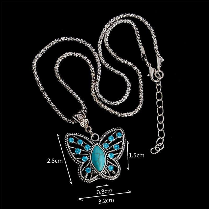Crystal Turquoise Butterfly Long Necklace