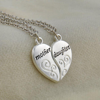 Mother-Daughter Heart Split Pendant Necklace (includes 2 necklaces)