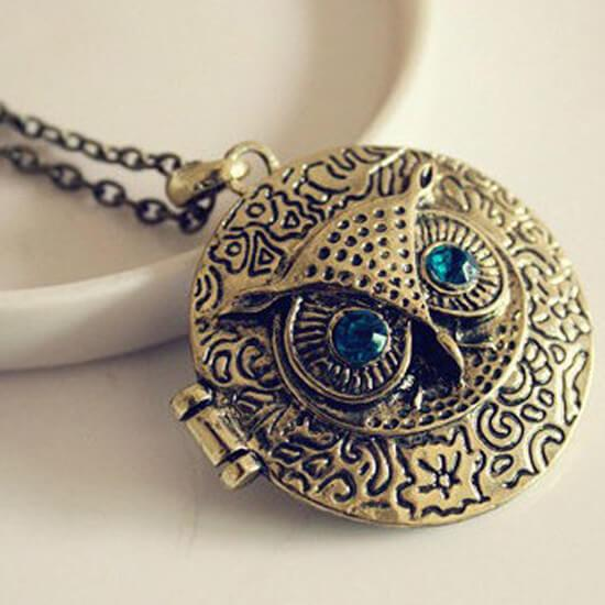 Vintage Owl Locket Pendant Necklace