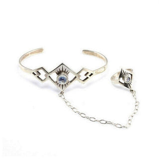 Adjustable Antique Bangles with Finger Ring and Arm Cuff  Bracelet