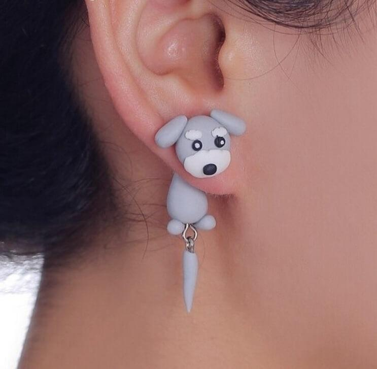 Polymer Clay Dog Stud Earrings