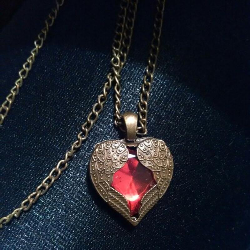 Red Crystal Heart Angel Wing Pendant Necklace