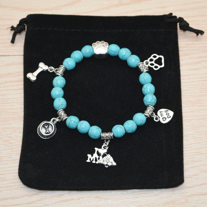 I Love My Dog Turquoise Bead Bracelet