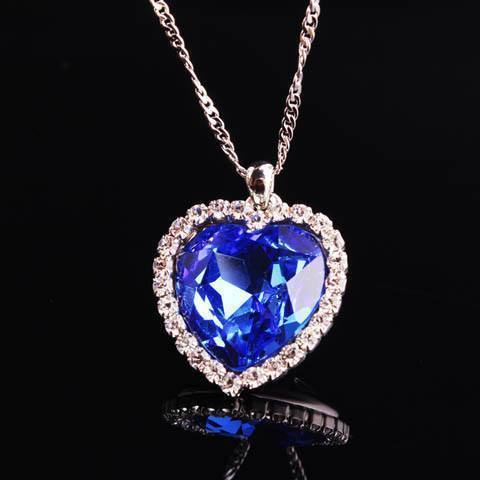 Blue Heart Crystal Necklace - Catrice Devaux - 1