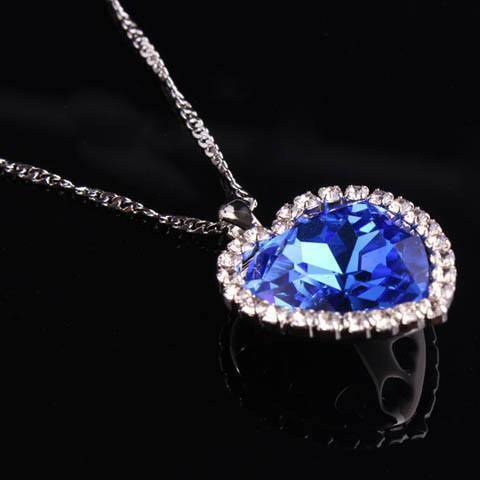 Blue Heart Crystal Necklace - Catrice Devaux - 2