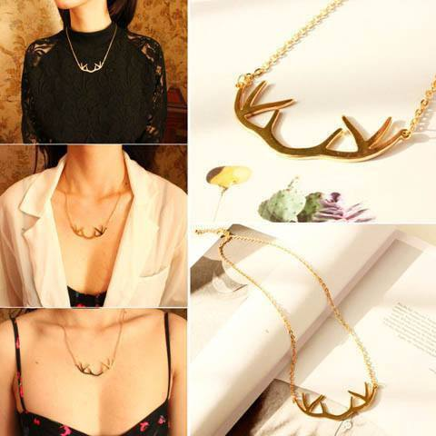 Deer Antlers Gold Necklace - Catrice Devaux - 1