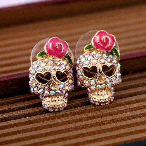 ♥ Rose Skull Earrings ♥ - Catrice Devaux - 1