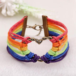 Heart Rainbow Rope Bracelet