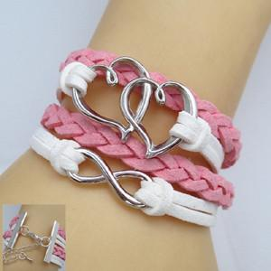Double Heart Leather Infinity Bracelet