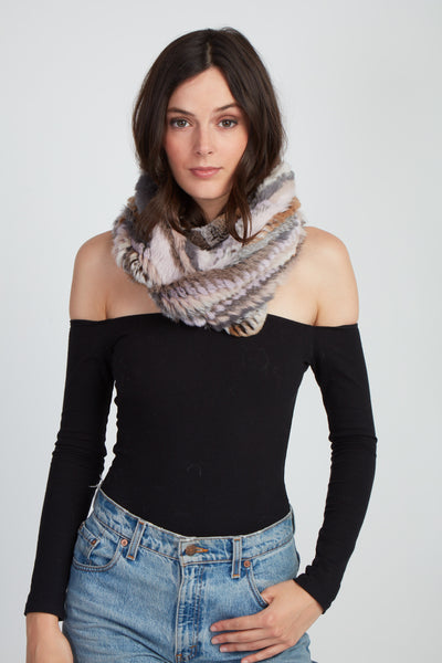 The Delilah Knitted Infinity Scarf - Neutral Multi