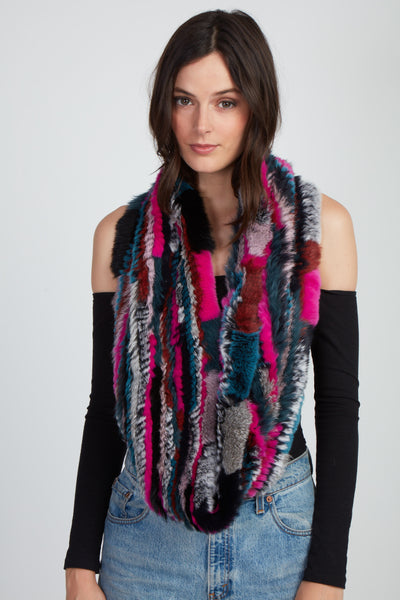 The Delilah Knitted Infinity Scarf - Dark Multi