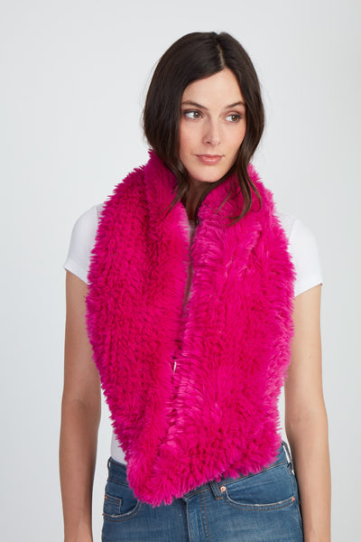 The Fab Faux Fur Infinity Scarf - Hot Pink