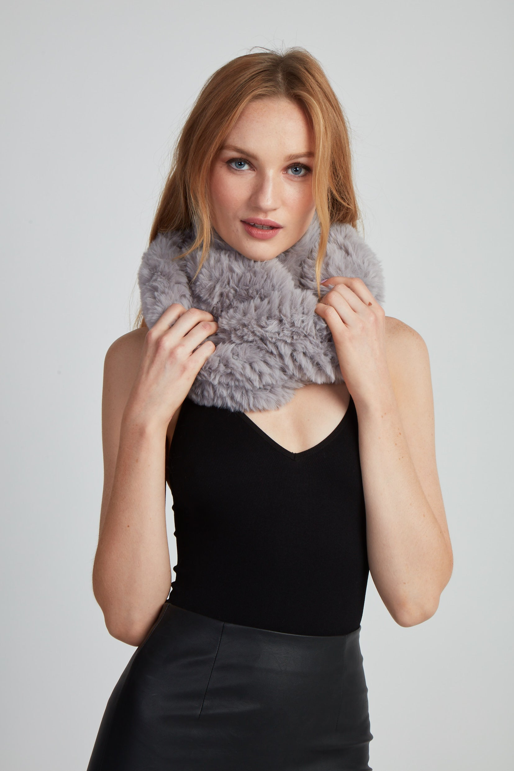 The Fab Faux Fur Infinity Scarf - Grey