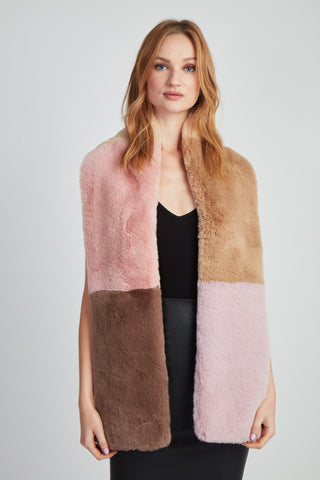 The Lili Faux Fur Colorblock Scarf - Pastel Multi