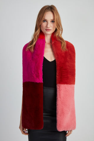 The Lili Faux Fur Colorblock Scarf - Red Multi