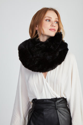 The Fab Faux Fur Infinity Scarf - Black