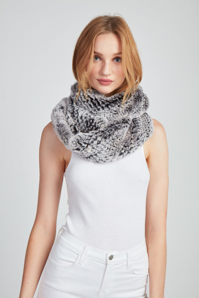 The Chloe Snow Top Infinity Scarf - Black & White
