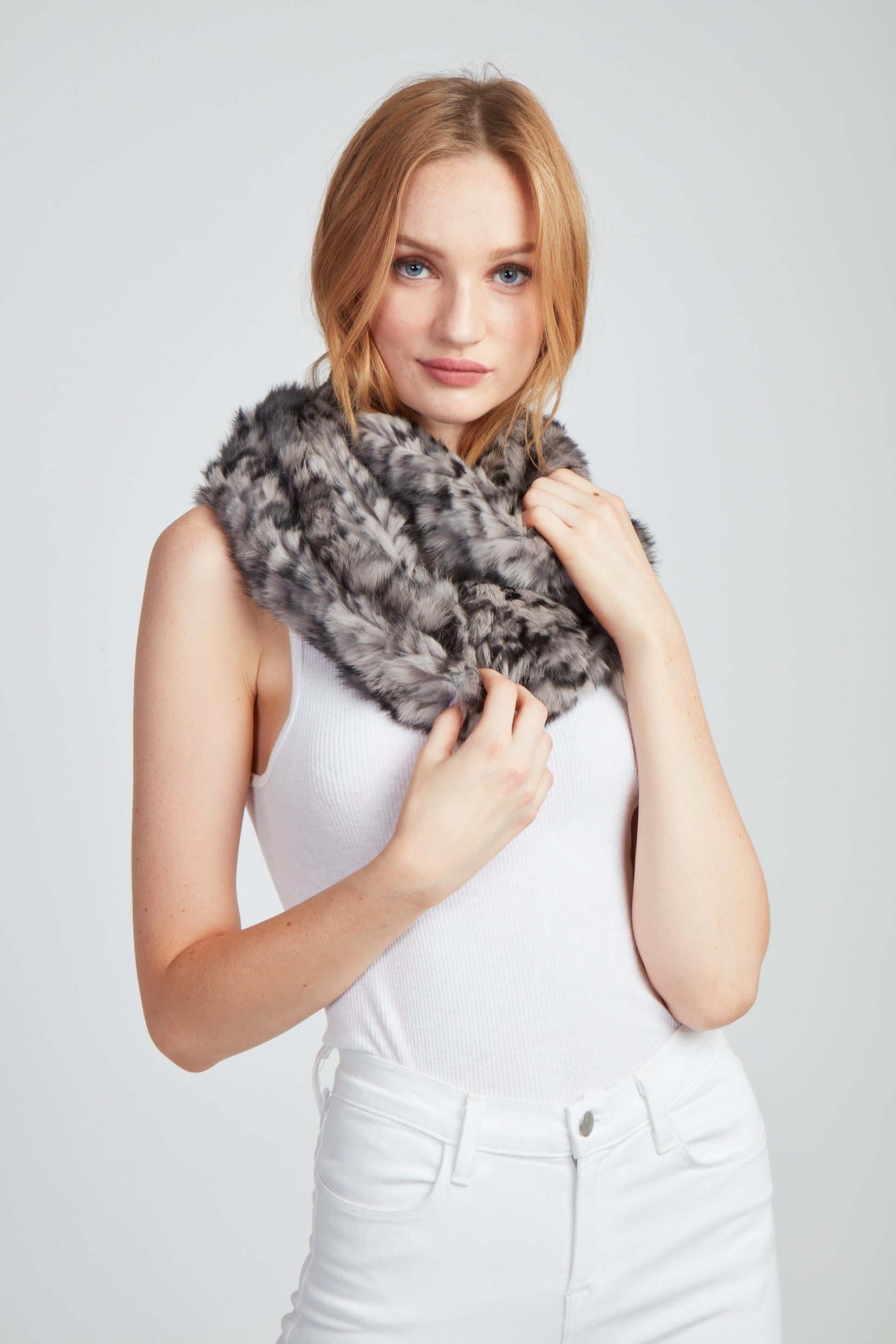 The Amelia Printed Infinity Scarf - Grey Multi