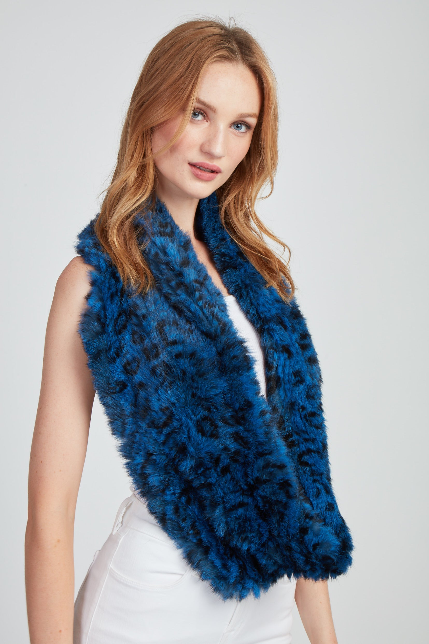 The Amelia Printed Infinity Scarf - Blue