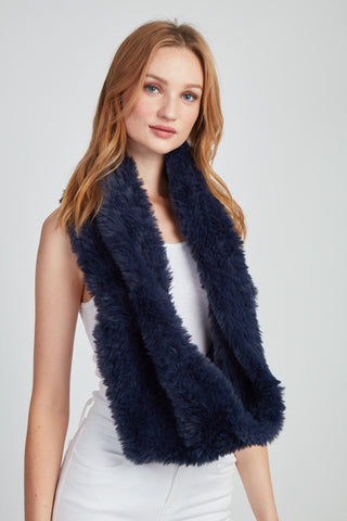 The Fab Faux Fur Infinity Scarf - Navy