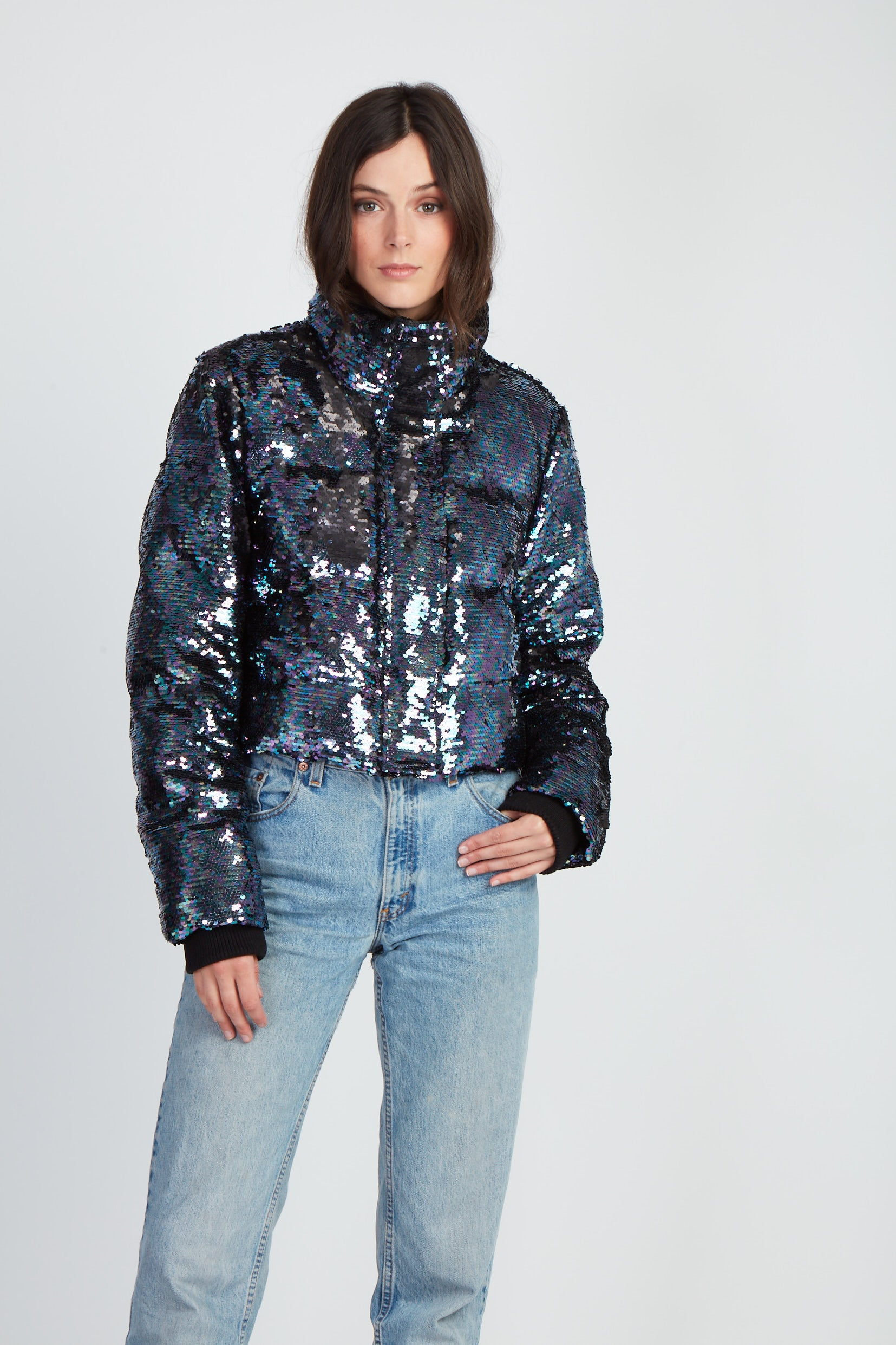 The Crazy In Love Jacket - Black Oil Slick Sequins