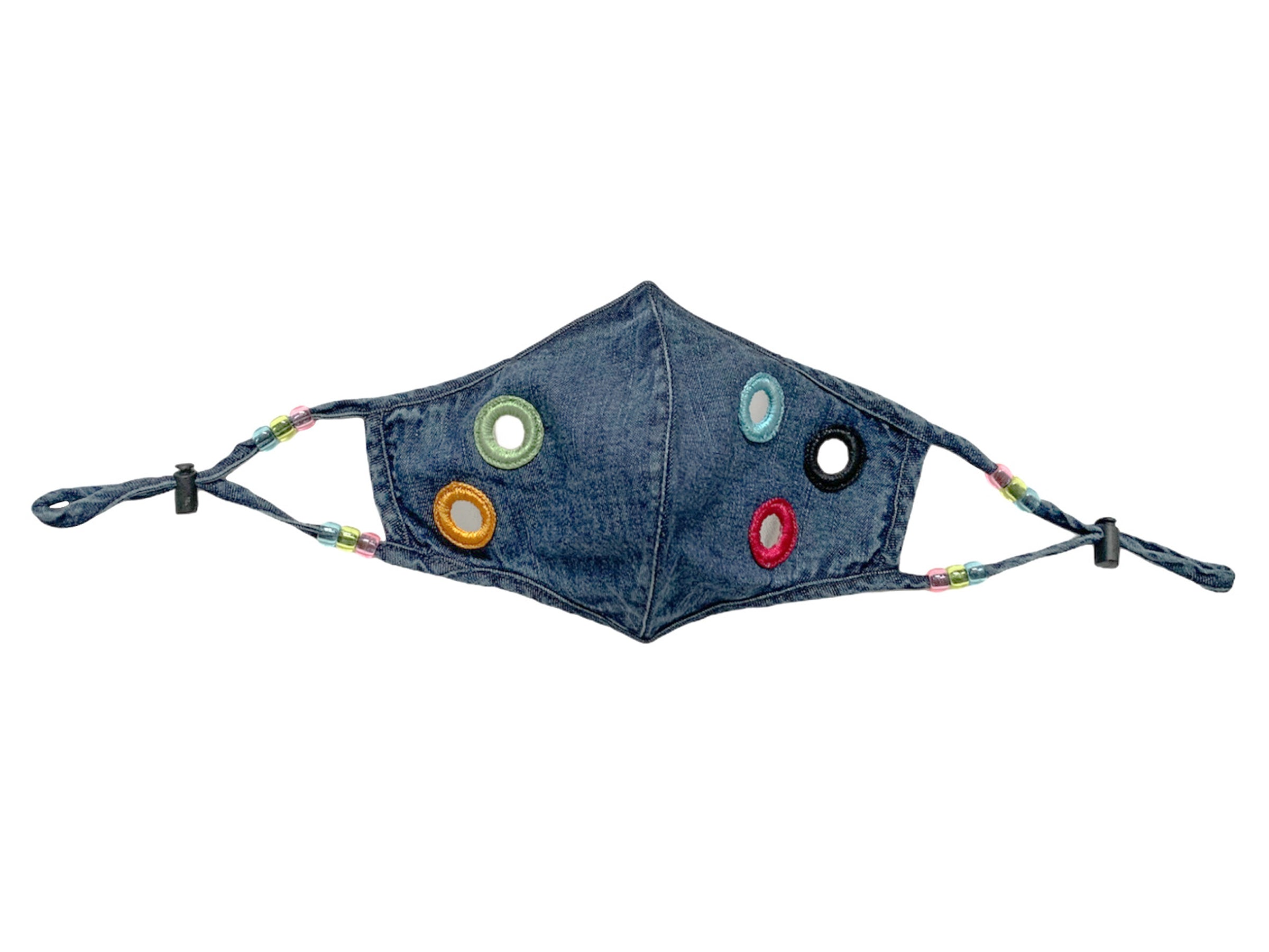 The Delancey Denim Mask With Mirror Patches
