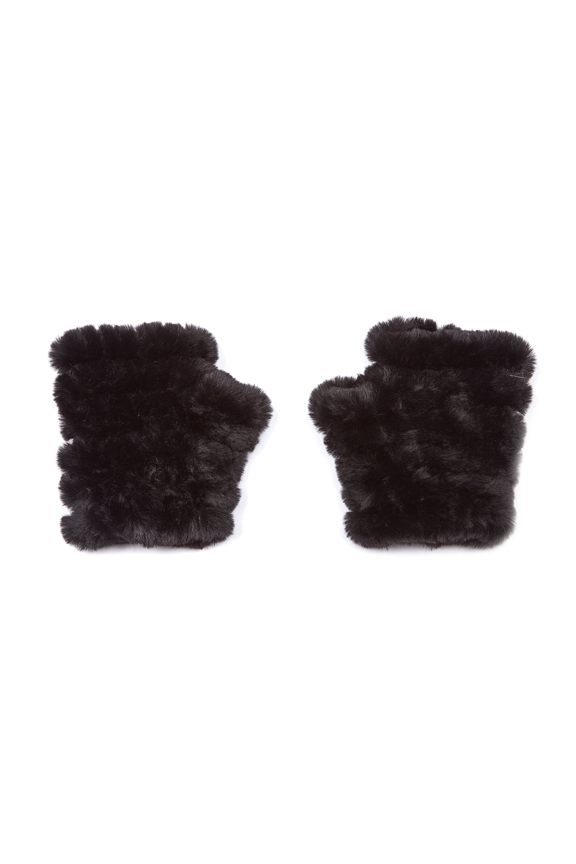 The Kids Mandy Mitten - Faux Fur - Black