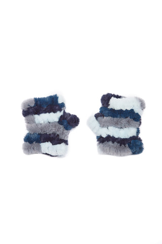 The Mandy Mitten - Faux Fur - Blue Multi