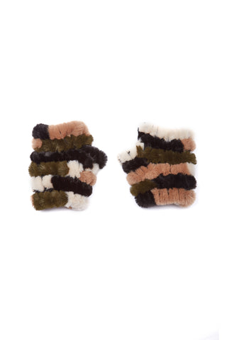 The Mandy Mitten - Faux Fur - Olive Multi