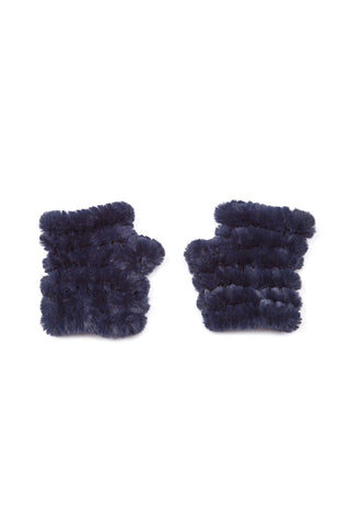 The Mandy Mitten - Faux Fur - Navy