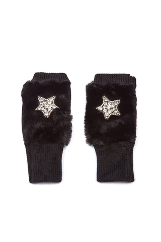 The Hudson Mittens- Faux Fur - Black
