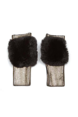 The East Broadway Mittens - Faux Fur - Gold