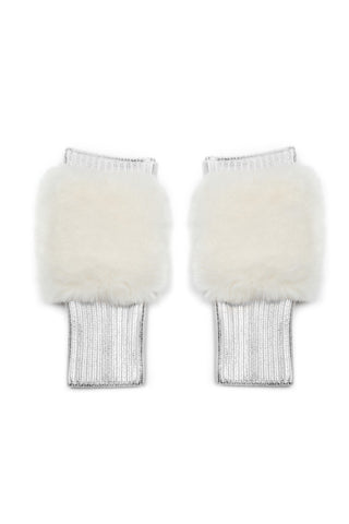 The East Broadway Mittens - Faux Fur - Silver