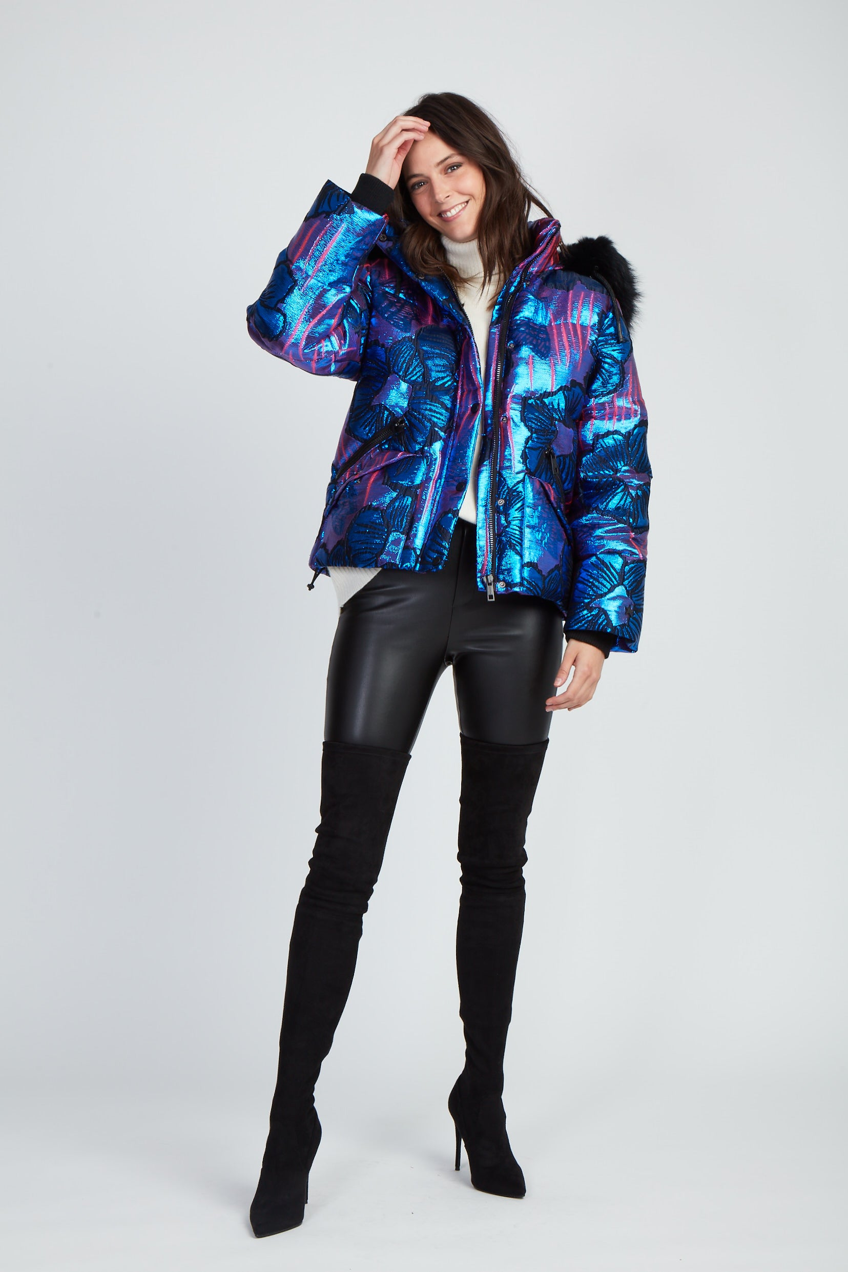 The You're My Shorty Puffer - Blue Floral