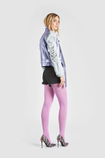 The Keepin It Real Leather Denim Jacket - Lilac