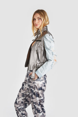 The Keepin It Real Leather Denim Jacket - Gray