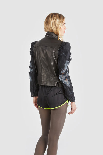 The Keepin It Real Leather Denim Jacket - Black