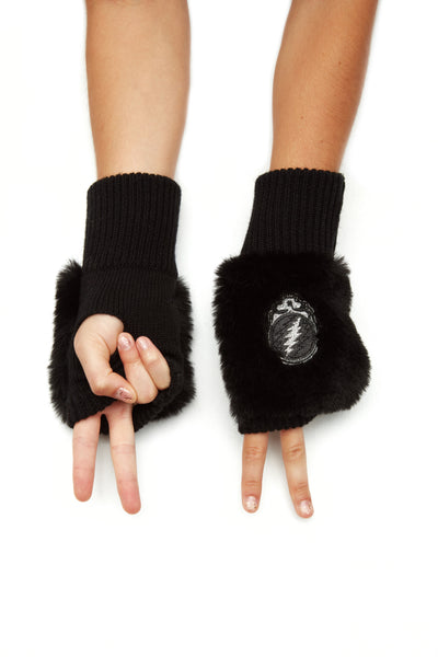 Grateful Dead X Jocelyn Collab - Faux Fur Patch Mittens