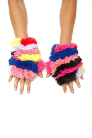 Grateful Dead X Jocelyn Collab - Faux Fur Rainbow Mittens