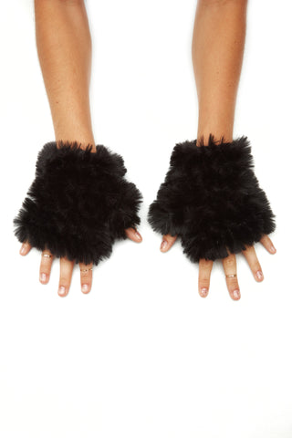 The Faux Fur Mandy Mitten - Black