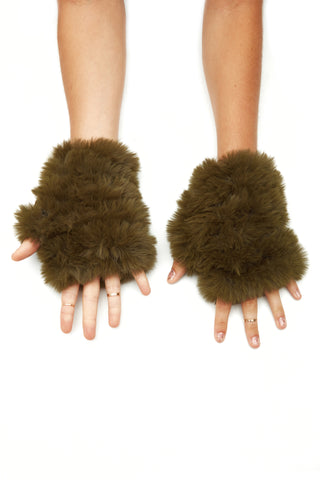 The Faux Fur Mandy Mitten - Olive