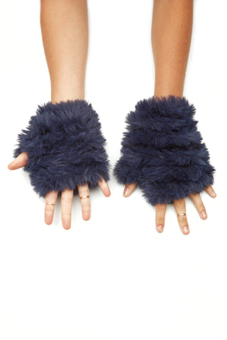 The Faux Fur Mandy Mitten - Navy