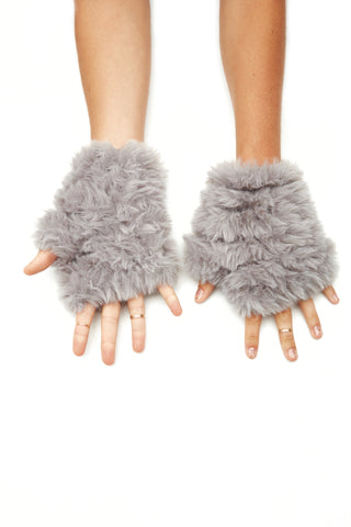The Faux Fur Mandy Mitten - Grey